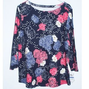 Charter Club Floral Soft Pima Cotton Tee Shirt Top